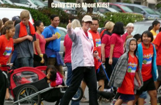 Cathy walking with the kids at the 2012 MV Walk Against Drugs